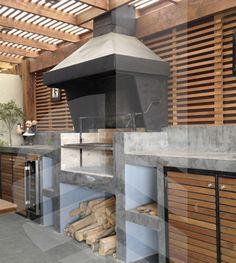 quinchos modernos cerrados - Buscar con Google Patio Kitchen, Summer Kitchen, Indoor Outdoor Living, Outdoor Rooms, Outdoor Decor, Barbecue, Parrilla Exterior, Built In Braai, Gazebo