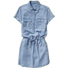 Gap Women Factory Tencel Shirtdress (54 CAD) ❤ liked on Polyvore featuring dresses, robe, vestidos, collared shirt dress, tie waist dress, t-shirt dresses, curved hem dress and gap dresses