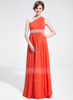 A-Line/Princess One-Shoulder Floor-Length Chiffon Prom Dress With Ruffle Beading (018025621)