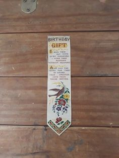 Thomas Stevens started making beautiful handmade silk products in Coventry from 1862 to the 1880s. These came to be known as Stevengraphs This stunning example us a birthday gift Bookmark, it features a bird flowers and the following quote; Birthday gift. I hail this day with evry