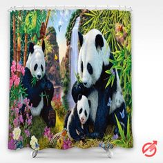 Panda painting color Shower Curtain #decorative #bathroom #curtain #gift #present #favorite