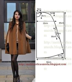 Cape Coat: Build Patterns for Sewing Coat Patterns, Dress Sewing Patterns, Clothing Patterns, Fashion Sewing, Diy Fashion, Ideias Fashion, Cape Pattern, Jacket Pattern, Sewing Coat