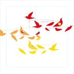 Djeco | Komagata Colourful Bird Mobile | Object & Line