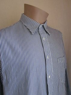BURBERRYS OF LONDON Men's Blue White Stripe Dress Shirt Size 16 - 35 Made in USA…