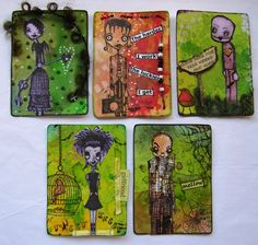 Stampotique ATCs by Sherry ., via Flickr