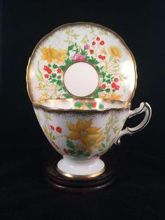 HAMMERSLEY Tea Cup Saucer Yellow Purple & Embossed Orange Flowers 1546 #Hammersley