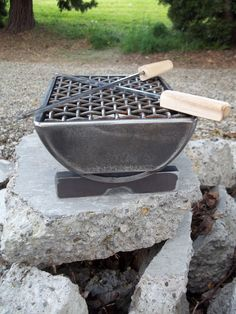 Welded Metal Hibachi Grill for Two with Wood by TheIronGrinder