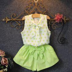 Moda bebê meninas 2 pcs verão definir refrescante bowknot padrão shirt... ❤ liked on Polyvore featuring tops, ruffle top, bebe tops, bebe shirt, flounce tops and lace shirt
