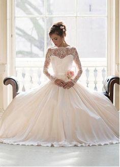 Elegent Satin Chiffon Bateau Neckline A-line Wedding Dresses With Handmade Flower