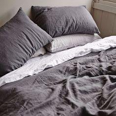 soft natural prewashed charcoal linen bedding