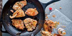 omg.. fried chicken skins appetizer.. it has buttermilk, honey, and hot sauce.  sounds delish!  Garden and Gun Magazine