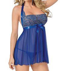 WANGSCANIS Sexy Women Halter Babydoll Lingerie Sleepwear Chemise Dress WANGSCANIS