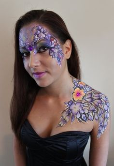 Adult face and body painting by Brierley Thorpe – Lilac - Adult face and body. Adult face and body painting by Brierley Thorpe – Lilac - Adult face and body painting by Brierley Thorpe – Lilac - painting designs Vine Tattoos, Dream Tattoos, Body Art Tattoos, Face Painting Designs, Paint Designs, Adult Face Painting, Lilac Painting, Face Paint Makeup, Cover Tattoo