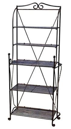 AmazonSmile : Pangaea Home and Garden Folding Baker's Rack, Black : Free Standing Baker Racks : Patio, Lawn & Garden