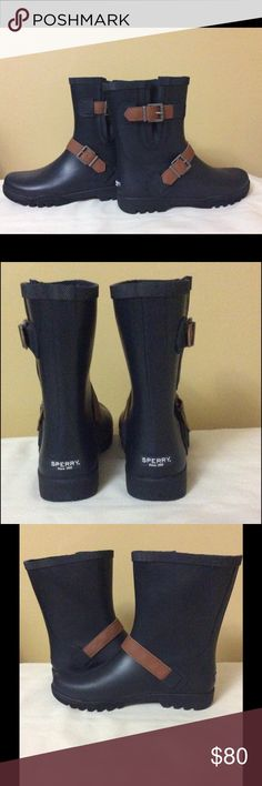"""Sperry Top-Sider ☔️ Boots Polished buckle detailing, Sperry's classic rain boots will have you (almost) embracing rainy days. Round toe; pull on. 1"""" heel. Price is firm. Sperry Shoes Winter & Rain Boots"""