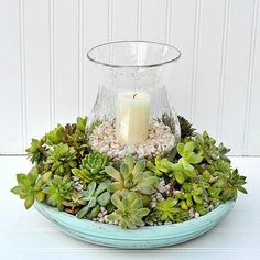 Flower Gardening For Beginners diy succulent candle centerpiece, container gardening, flowers, gardening, succulents - You're gonna love this one! Quick Garden, Diy Garden, Edible Garden, Garden Ideas, Succulent Centerpieces, Candle Centerpieces, Succulents Garden, Centerpiece Flowers, Succulent Gardening