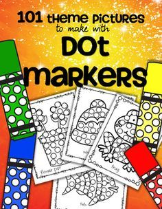 Dot Markers 101 Theme Printables - Includes pictures for many themes used in Early Childhood Education programs – holidays, seasons, vehicles etc  Dab on the spots with a circle /dot marker, bingo dauber, or similar.  	Encourages development of hand-eye coordination, small muscle control, counting, vocabulary, circle recognition, and it's fun!