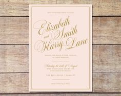 Blush Pink & Gold Wedding Invitation by PaperRouteCollective, $30.00