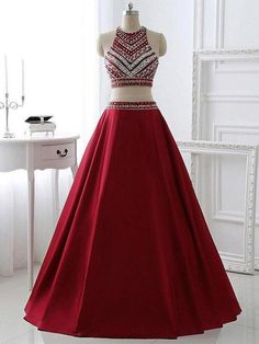 Cheap Admirable Long Prom Dress Long Wedding Dress Two Pieces Burgundy Prom Dress Bridal Party Dresses P Prom Dresses Two Piece, Beautiful Prom Dresses, Formal Dresses, Dress Long, Dress Prom, Dance Dresses, Bridal Party Dresses, Wedding Dress, Junior Bridesmaid Dresses