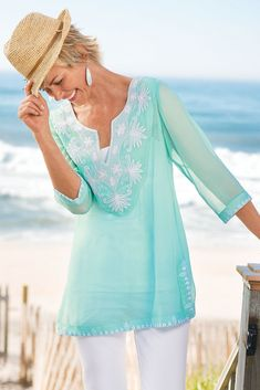 Available in Soft Sea and Nautical Navy, our Tamara Tunic I will be one of your summer favorites.