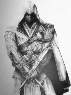 Assassin's Creed Ezio Auditore by lPinhead on DeviantArt Tatuajes Assassins Creed, Assassins Creed Dibujos, Assassins Creed Tattoo, Assassins Creed Series, Assesin Creed, All Assassin's Creed, Cool Drawings, Drawing Sketches, Pencil Drawings