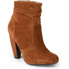 Journee Collection Mozza Ankle Booties ($70) ❤ liked on Polyvore featuring shoes, boots, ankle booties, ankle boots, faux-suede boots, short boots, high heel boots and high heel bootie