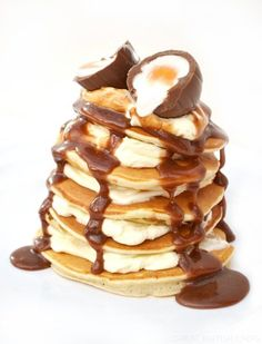 Creme Egg Pancake Stack  with creme egg chocolate sauce, mmmmmm! - Great British Chefs  #pancakes #pancakeday #shrovetuesday