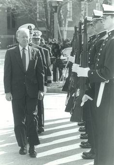 President Jimmy Carter during a regimental review at the Academy, during his visit as the Hedrick Fellow.