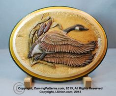 Step by step photo instruction relief wood carving canada goose project by Lora S., Irish, author of the Basics to Relief Wood Carving. Every cut and carving strokes is shown in this full set of carving instructions. Free craft patterns, free carving project.