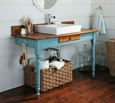 Bathroom idea- small bath, painted half table w/ sink