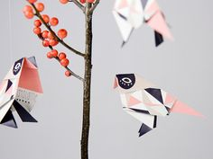 Pack of three origami Birds with pattern print by brittamanger, €8.90