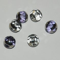 Clear Blue, Clear,  and Silver Glass Beads Diamond Cut Round by SilverRosesJewelry on Etsy
