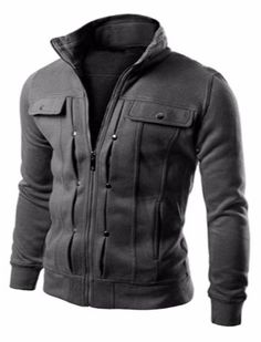 Men's Zip Up Stand Collar Elastic Cuff Slimming Jacket