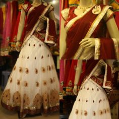 White and Maroon Half Saree by Sony Reddy Celebrity Sarees, Designer Sarees, Bridal Sarees, Latest Blouse Designs 2014 South India Fashion