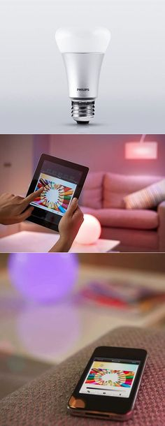 Philips Hue - User-Controlled Colored Bulb - Create your personal wireless lighting environment with the Philips Hue connected bulbs and wireless bridge. And control it all with your iPhone or iPad from wherever you are. You can connect up to 50 Hue light bulbs to a single system, while using as much as 80% less energy than traditional bulbs.