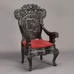 Chinese Carved Chair | 415: Chinese Carved Rosewood Dragon Chair, 20th Century : Lot 415