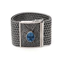 Kir - Wide Woven Bracelet with London blue topaz - Something Blue!