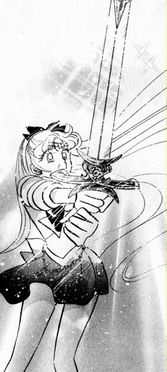 Manga Sailor Venus with the sword that protects the princess