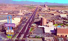 1968 aerial view of the north Strip. The Frontier, Silver Slipper and the Stardust are seen on the left. The area at bottom-right shows the current site of the Wynn Hotel and the old Desert Inn Hotel.