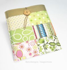 iPad 3 or iPad 2 case cover sleeve - Patchwork in spring / summer fabrics - Pink, green, white, yellow