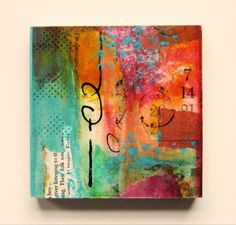 paper & paint 006 - love this mixed media canvas - beautiful, vibrant colors.
