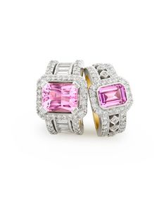 Both Abrianna rings are mastercrafted in white and yellow gold Left ring - set with a kunzite emerald cut main stone and diamonds. Right ring - set with pink sapphire stone and diamonds. Heart Engagement Rings, Engagement Ring Shapes, Engagement Ring Settings, Sapphire Stone, Pink Sapphire, Pink Diamonds, Titanic Jewelry, Diamond Are A Girls Best Friend, Jewelry Branding