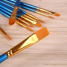10pcs Light Blue Nylon Hair Round Pointed Tip Painting Brushes Pen Tool