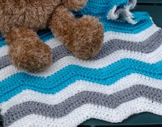 Ravelry: lverb's Textured Baby Ripple in Gray and Teal