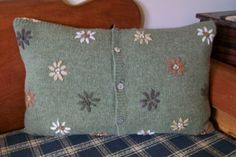 Upcycled Recycled Wool Sweater Pillow with by PrairieHeritage, $30.00