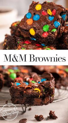 45 minutes · Vegetarian · Serves 16 · Thick, rich, fudgy M&M brownies are a favorite among adults and kids alike. This easy brownie recipe has the perfect chewiness and crinkly top. The batter is studded with chocolate chips and M&MS then… Desserts Menu, Dessert Cake Recipes, Brownie Recipes, Cookie Recipes, Yummy Treats, Delicious Desserts, Sweet Treats, Yummy Food, Chocolate Chips