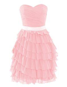 Amazon.com: Diyouth A-line Sweetheart Short Chiffon Bridesmaid Dress: Clothing