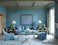 Paint, Ocean Pastel Blue Walls With Light Grey Ceilings And Light Brown Hardwood Flooring Pastel Light Blue Fabric Sofa With Violet Fur Rug And Blanket White Big Size Fur Rug Glass On Top Table With Wood Base: Traditional Living Room Paint Colors Living Room Paint, Small Living Rooms, Living Room Designs, Living Room Decor, Living Spaces, Modern Living, Modern Sofa, Simple Living, Modern Table