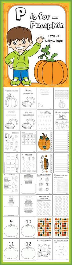 You'll find a lot of different fun activities for your little ones with over 50 pages designed to be used while studying the letter P - http://christianhomeschoolhub.com/pt/Pumpkin-Themed-Educational-Resources/wiki.htm