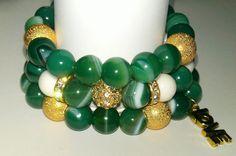 Go Green Stacked Gemstone Bracelet Set by NGeniousCreations, $50.00